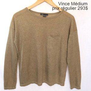 Vince beige oatmea sweater top  medium